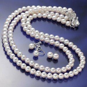 あこや真珠 6.5mm-7mm 3点セット イヤリングセット(パールネックレス42cm1本 パールネックレス47cm1本 パールイヤリング1ペア 計3点) 【本真珠】 - 拡大画像