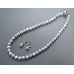 トリートブルーグレーあこや真珠8-8.5mmネックレス&イヤリングセット - 拡大画像