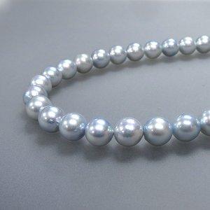 トリートブルーグレーあこや真珠8-8.5mmネックレス&ピアスセット
