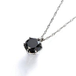 プラチナPt900 【大粒】ブラックダイヤ1ctペンダント - 拡大画像