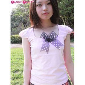 リボン付きパフスリーブTシャツ ピンク