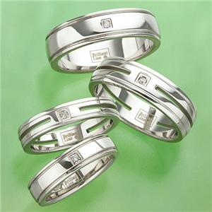 ステンレス&ダイヤモンドリング RSDM04 ツーラインワイドサイズ 19