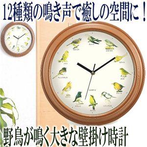 野鳥が鳴く大きな壁掛け時計 - 拡大画像