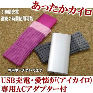 USB充電・愛懐炉(アイカイロ) ACアダプター付 ピンク - 拡大画像