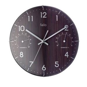 Felio クリュッグ 温・湿度計付き掛け時計 FEW131BR - 拡大画像