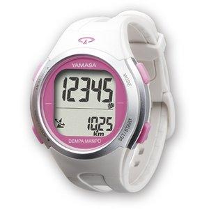 YAMASA(山佐時計計器) 電波時計内蔵ウォッチ万歩計 TM-500ホワイト/ピンク - 拡大画像