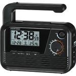 ADESSO(アデッソ) ワイドFM対応防災電波クロック C-6020BK