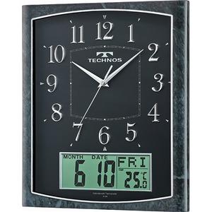 TECHNOS(テクノス) アナログ掛け時計 石目ブラック W-684SFB/テクノス カレンダー