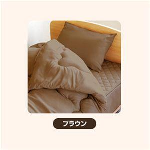ピーチスキン加工 寝具3点 シングル【ベッド用】 ブラウン - 拡大画像