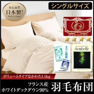 日本製エクセルゴールドラベル フランス産ホワイトダックダウン90%羽毛布団 ボリュームタイプ(SU) シングル ブラウン - 拡大画像