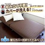 洗える替えカバー式折りたたみベッド シングルサイズ ブラウン