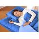マットレス付きふかふか増量羽根布団寝具<br>7点セット シングルサイズ ディープブルー×ライトブルー 写真3