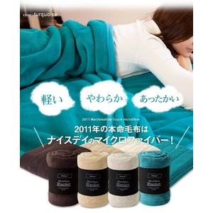 ふっくらマシュマロタッチマイクロファイバー毛布・敷パッド ターコイズ - 拡大画像