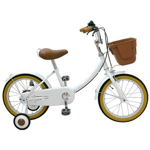 子供用補助輪つき自転車 16インチ ホワイト 練習用器具つき - 拡大画像