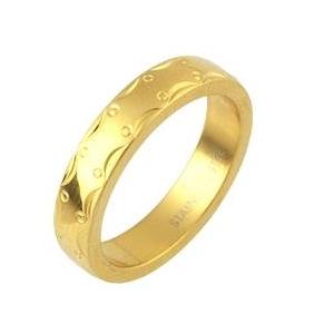ステンレスリングアラベスク模様ゴールドカラー17号