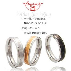 ステンレス製 アトラスラインリング シルバー 19号 h01
