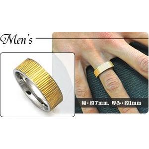 ステンレスリング グレーンゴールド 5mm細幅タイプ 9号 h02