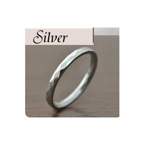 ステンレスリング ダイヤモンドカット細身リング シルバーカラー 5号 h02
