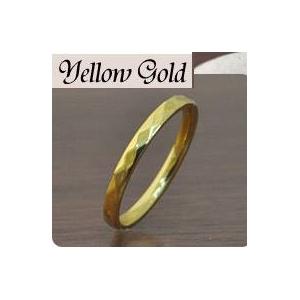 ステンレスリング ダイヤモンドカット細身リング ゴールドカラー 5号 h02