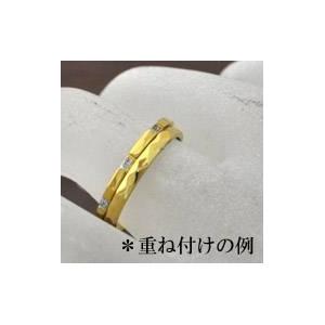 ステンレスリング ダイヤモンドカット細身リング ゴールドカラー 5号 h03