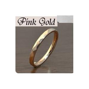 ステンレスリング ダイヤモンドカット細身リング ピンクゴールドカラー 5号 h02