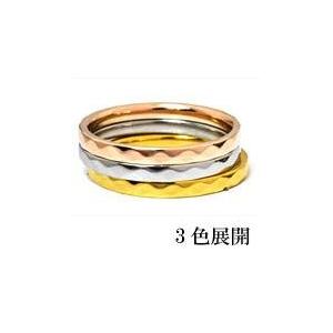 ステンレスリング ダイヤモンドカット細身リング ピンクゴールドカラー 5号 f04