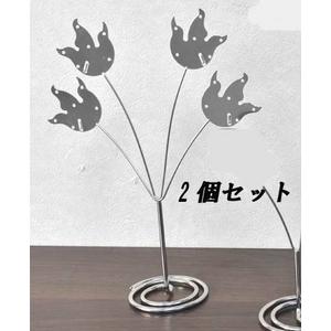 リーフ型ピアスディスプレイスタンド シルバー Lサイズ【2個セット】 - 拡大画像