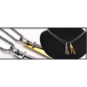 ステンレス製ネックレス プレート&クロス ジルコニアラインストーン ボールチェーンつき ピンクゴールド f04