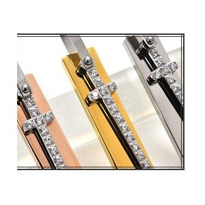 ステンレス製ネックレス プレート&クロス ジルコニアラインストーン アズキチェーンつき ピンクゴールド h02