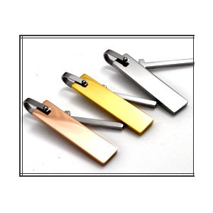 ステンレス製ネックレス プレート&クロス ジルコニアラインストーン アズキチェーンつき ピンクゴールド h03