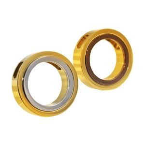 ステンレスネックレス ツートンカラーリング アズキチェーン付 ゴールド×シルバー h01