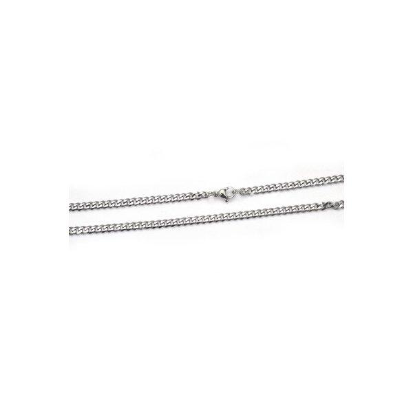【10本組】ステンレス製ネックレス キヘイチェーン幅4mm/全長50cmf00
