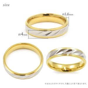 【ステンレス製指輪】カットラインリング ゴールド/シルバー コンビカラー【15号】 f06