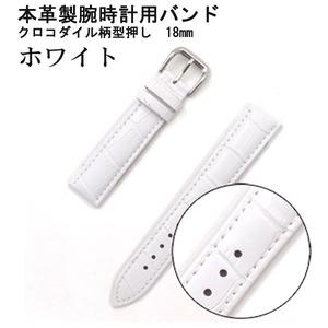 【腕時計用ベルト2本組】本革バンド クロコダイル柄型押し18mm ホワイト - 拡大画像