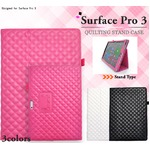 【液晶保護シート付】Surface Pro3用スタンド機能つき手帳型ケース キルティングレザー  ホワイト