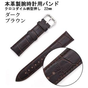 【腕時計用ベルト2本組】本革バンド クロコダイル柄型押し22mmダークブラウン - 拡大画像