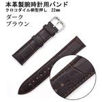 【腕時計用ベルト2本組】本革バンド クロコダイル柄型押し22mmダークブラウン