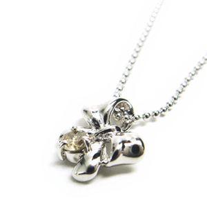 シルバー リボン誕生石ネックレス 4月 ダイヤモンド - 拡大画像