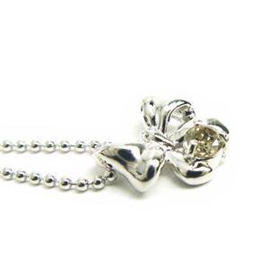 シルバー リボン誕生石ネックレス 4月 ダイヤモンド h02