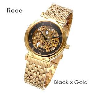 ficce オートマチック スケルトン FC-11010 ブラック×ゴールド