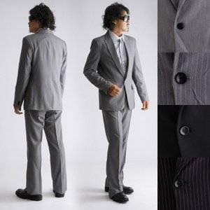 上下セット スタイリッシュスーツ ブラックストライプ Lサイズ
