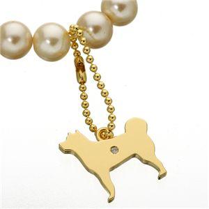 貝パールドッグブレスレット 柴犬 Mサイズ - 拡大画像