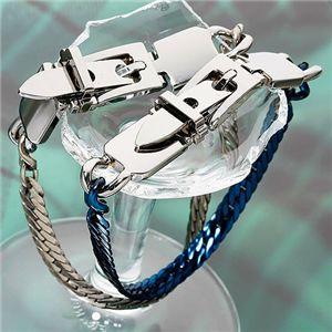 ヘリンボーン美錠ブレスレット ブルー h03