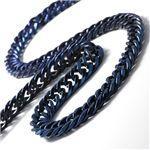 ダブル6面 純チタンチェーンネックレス ブルー 50cm
