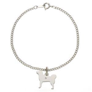 ダイヤ付シルバー犬猫ブレスレット 犬