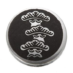 家紋つきメガネホルダー 【貝パール】丸に右三階松