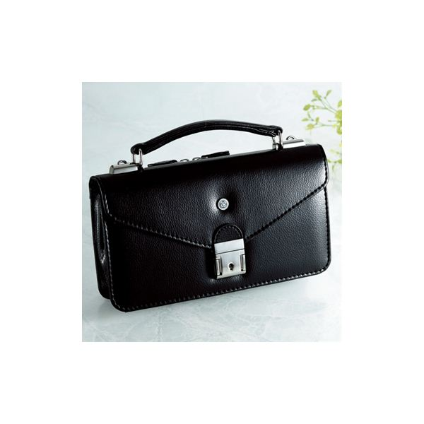 【日本製】家紋付 礼装多機能バッグ (小) 鍵付◆丸に三つ柏 backs-4f00