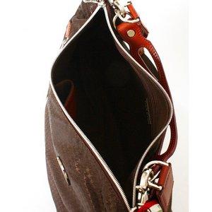 OROBIANCO(オロビアンコ) ショルダーバッグ ダークブラウン×千鳥柄  SILVESTRA(シルベストラ)★専用袋付き f06