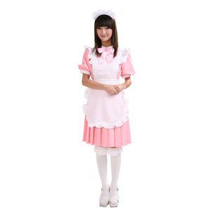 プリーツメイド服 ピンク M