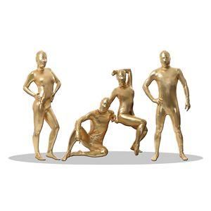 全身タイツ/コスプレ衣装【コーティングゴールドLサイズ】メンズ180cm迄連体服顔カバー付き『透明人間』